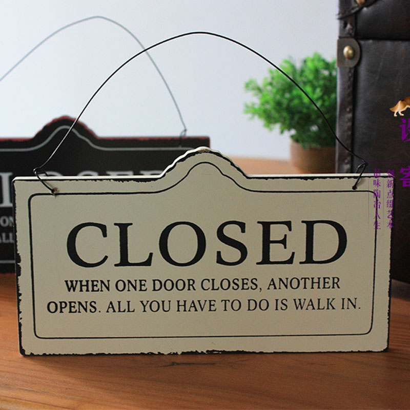 Creative European styled CLOSED OPEN Double faced Hanging Door Sign ...