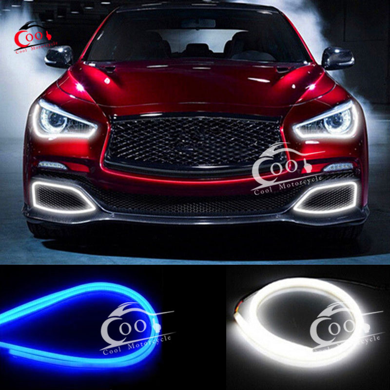 2x 60cm soft guide car led strip light lamp turn signal light 2x 60cm soft guide car led strip light lamp turn signal light headlight daytime lamp switchback strip bluewhite light in car light assembly from aloadofball Gallery