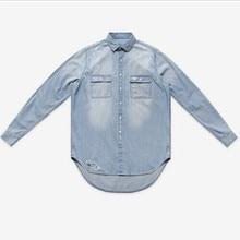 Súper moda de nueva jeans para hombre camisas de manga larga de mezclilla hombres flojos de hip hop botín ocasional Distrressed shirts tamaño S / M / L / xl(China (Mainland))
