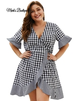 ZOUDKY Plus Size Plaid Dress V Neck Half Sleeve Black White Plaid Ruffles Dresses Vestidos XL 4XL Big Size Summer Dress 2019