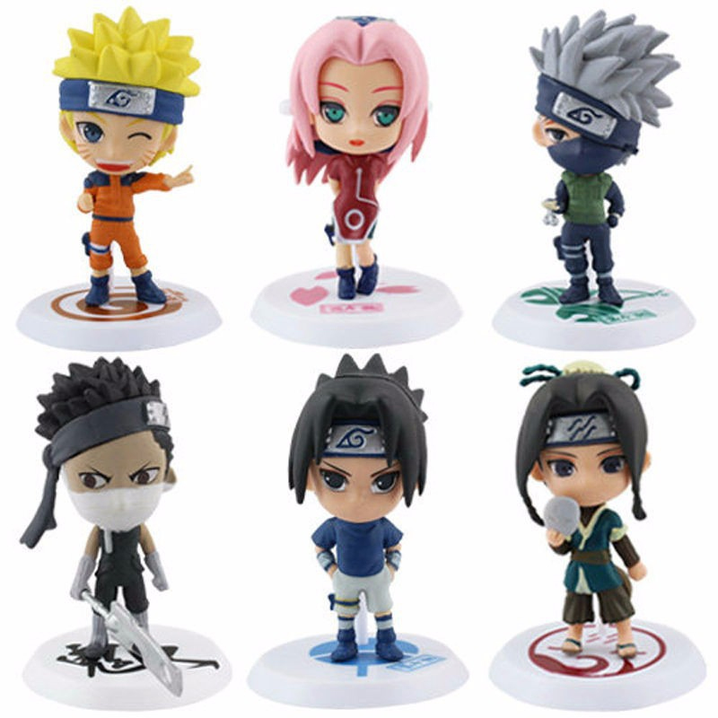 6Pcs/set Anime Naruto Cartoon Q Version Naruto/Kakashi/Sakura/Sasuke PVC Model Toys Action Figure Dolls For Kids Toy Collectible 6pcs set disney trolls dolls action figures toys popular anime cartoon the good luck trolls dolls pvc toys for children gift