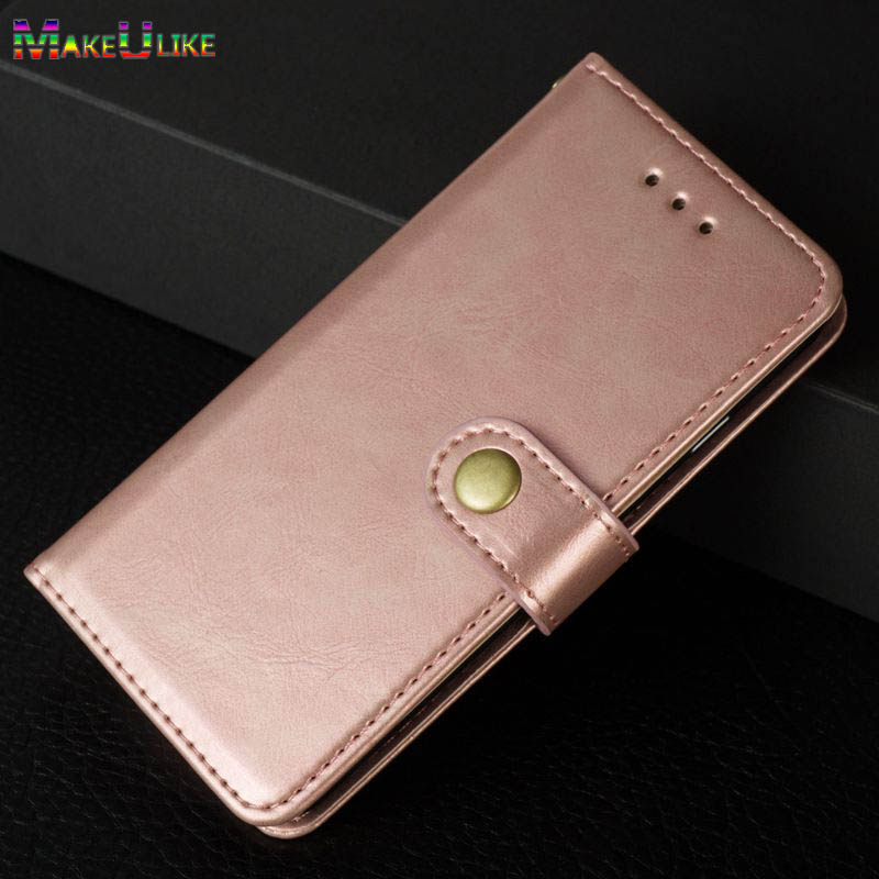 MAKEULIKE Flip Case For iPhone X iPhoneX Case Metal Button PU leather Phone wallet Case for Apple iPhone 10 X Cover
