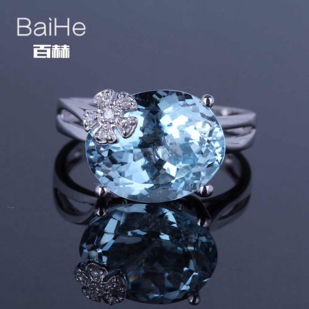 BAIHE Solid 14K White Gold(AU585) 7.6CT Certified Oavl Cut/Genuine Natural Blue Topaz Wedding Women Trendy Fine Jewelry Ring BAIHE Solid 14K White Gold(AU585) 7.6CT Certified Oavl Cut/Genuine Natural Blue Topaz Wedding Women Trendy Fine Jewelry Ring