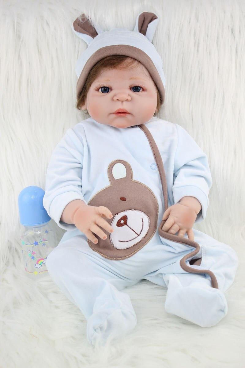 55 см полный силиконовый корпус Reborn для маленьких мальчиков игрушки куклы реалистичные 22 дюймов новорожденных малышей куклы подарок на день...