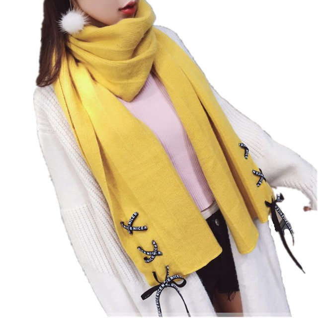 ab699e42c8a6f Women Faux Cashmere Scarf with Bow Tie Autumn Winter Cross Straps Shoelace  Pashmina Soft Solid Shawls