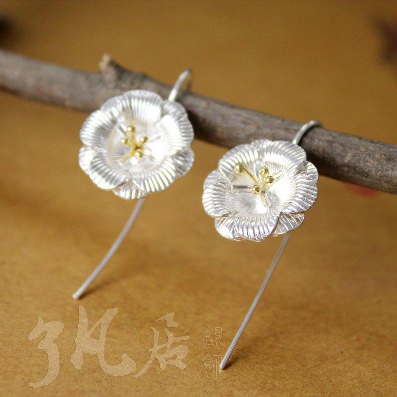 Boucles d'oreilles en argent Sterling 925 à la main pour femmes, fleur fraîche fille femmes aiment le cadeau de noël
