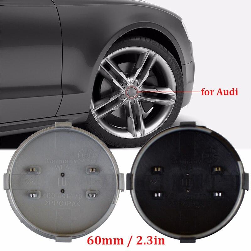 20Pcs/lot 60mm Black/Gray Car Wheel Center Hub Caps Cover Logo Emblem Badge For Audi A3 A4 A6 A8 4B0601170