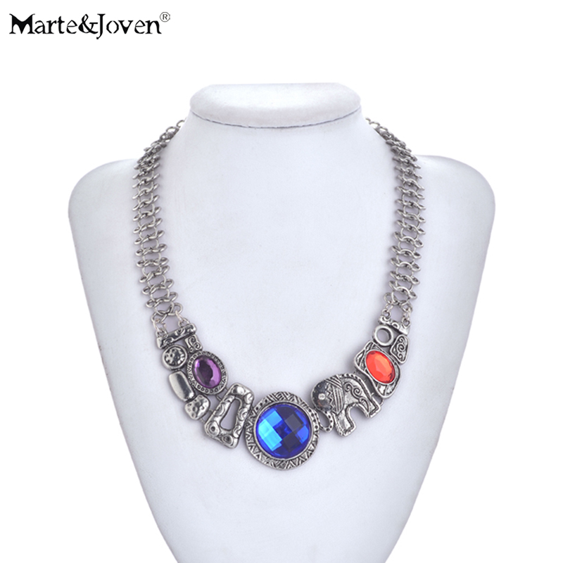 Marte&joven Antique Silver Lucky Elephant Statement Choker Necklaces For Women Bohemia Style Jewelry Short Chain Chunky Necklace With A Long Standing Reputation