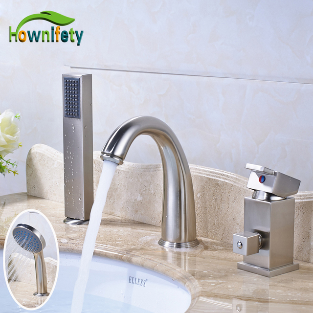 Nickel Brushed Solid Brass Bathroom Sink Faucet Single Handle Countertop  Mixer Tap With Handheld Shower Sprayer