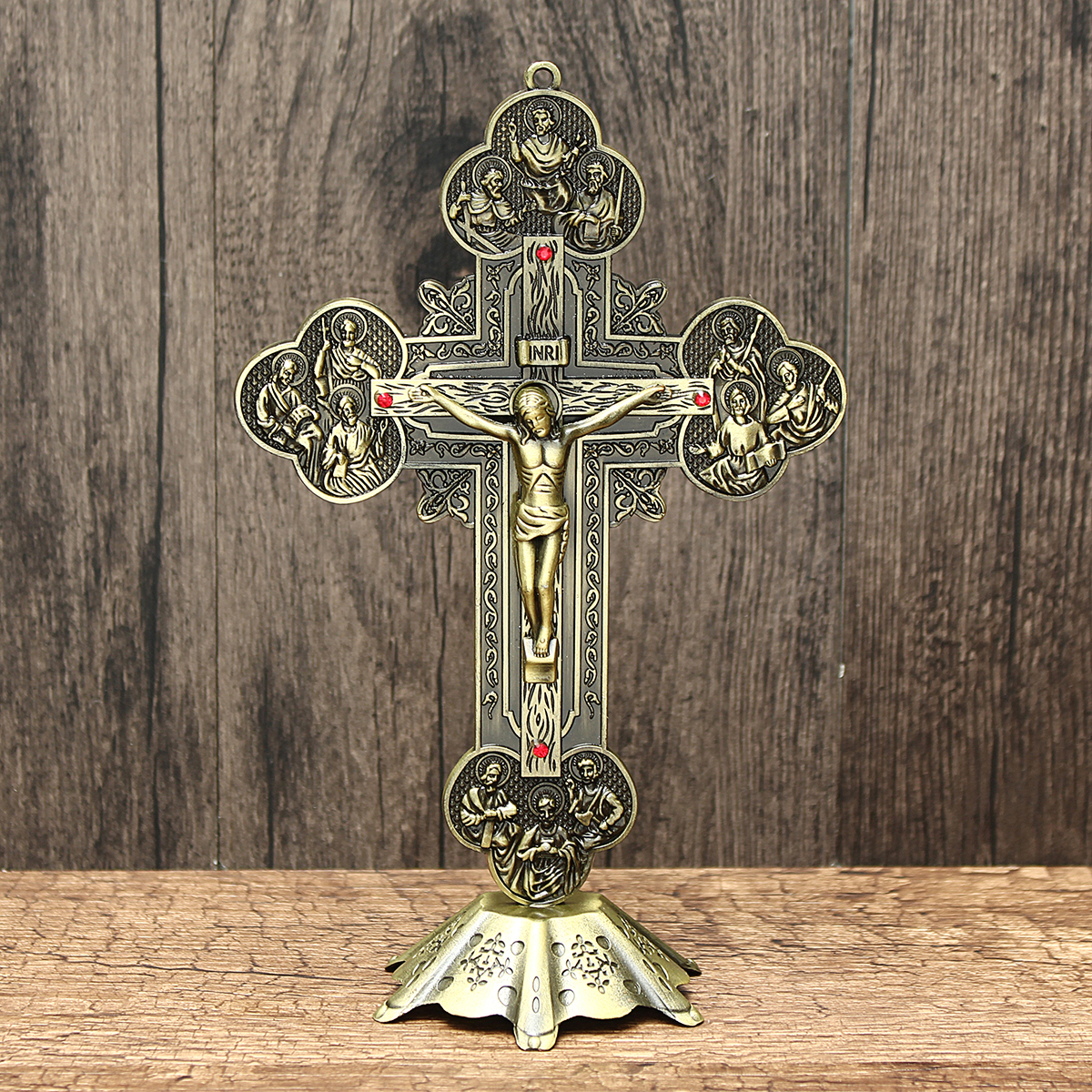 Church Relics Crucifix Jesus Christ On The Stand Cross Wall Crucifix Antique Home Chapel Decoration Wall Crosses 21cm Figurines