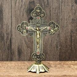 Igreja relíquias crucifixo jesus cristo no suporte cruz parede crucifixo antigo casa capela decoração parede 21cm estatuetas