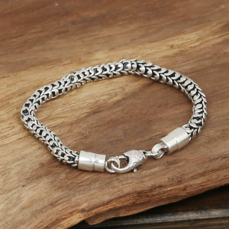 S925 wholesale silver jewelry Mens handmade in Thailand silver buckle 6m dragon fashion bracelet wholesale silver jewelry manufacturers s925 mens fashion silver silver bracelet handmade coarse twist 7m