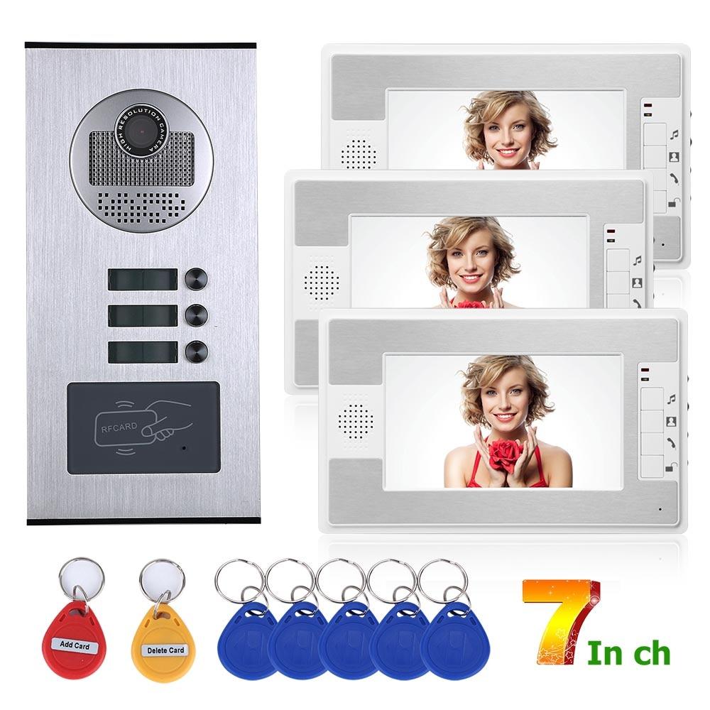 Wired Video Intercom Systems 3 Apartments 7 Inch Video Door Phone System RFID IR-CUT HD 1000TVL Doorbell Camera