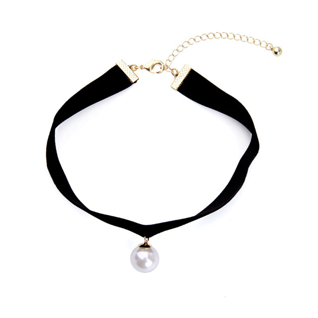 91a3cd52a83a Precio a granel mujeres cuello gargantilla Bijoux negro terciopelo para  niñas gargantilla encanto simulado perla Collar