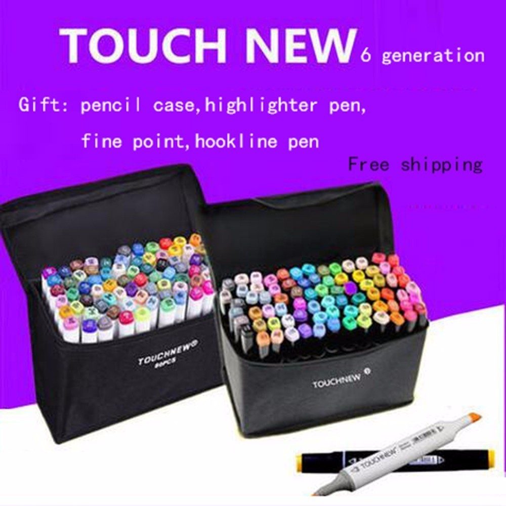 TOUCHNEW 6 generation Mark drawing pen set students alcohol oily hand-painted painting 36 48 colors fine markers drawing manga 6 color party cosplay fun face body painting pen 6 pcs
