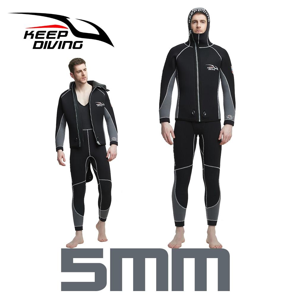 Double Warm Professional 5MM 2 Piece Neoprene Scuba Dive Wetsuit With Hood Zipper Split Spearfishing Wet