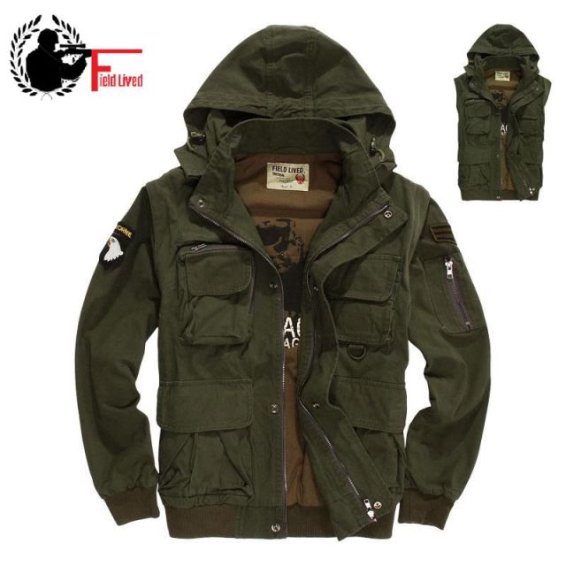 c41ebdb1d9d Military Style Men s Winter Jacket Hooded Air Force Pilots Army Green  Jacket Bomber Male Plus Size Coat Male Vest Waistcoat 3XL
