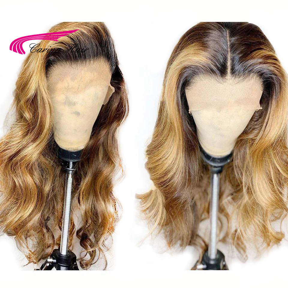 Carina Brazilian Body Wave 13X6 Lace Front Human Hair Wigs PrePlucked Honey Blonde Remy Ombre Color Glueless Wig-in Lace Front Wigs from Hair Extensions & Wigs