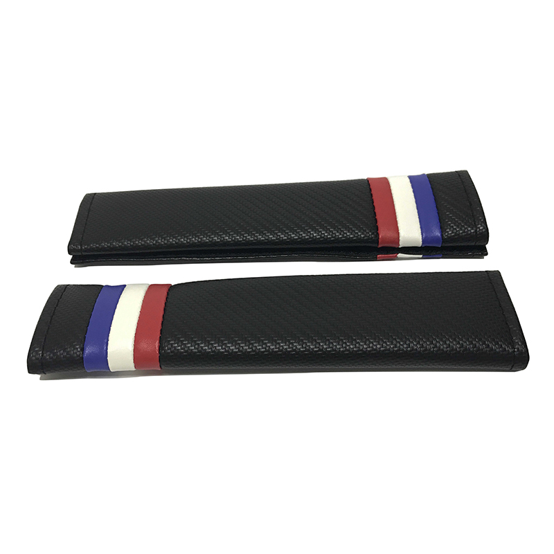 2pcs Carbon Fiber Car Seat Belt Cover Shoulder Pad Cushion France Flag Color FOR Audi BMW Benz VW Toyota Nissan Honda Ford KIA