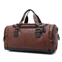 Top Quality Casual Travel Duffel Bag PU Leather Men Handbags Big Large Capacity Travel Bags Black