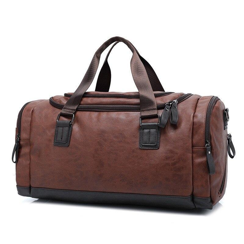 Toppkvalité Casual Travel Duffel Bag PU Läder Män Handväskor Stor - Väskor för bagage och resor - Foto 1