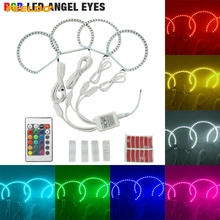 FEELDO 1 conjunto Carro RGB Multi-Color LED Angel Eyes o Halo Ring Light Sem Fio Kit Controle Remoto Para Lada VAZ 2106