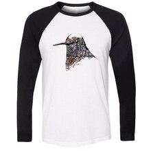 Men stree Style Cotton Long Sleeve Fashion Funny Inky Hummingbird ART Design T-shirts Gifts for Boy autumn winter underwear