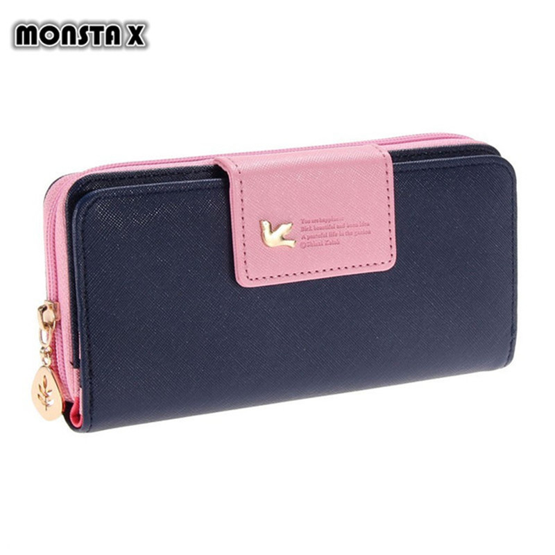 MONSTA X Fashion Wallet Women Luxury Female Carteira Feminina Long Wallets Ladies PU Leather Zipper Purse Card Holders Clutch genuine leather wallet women card holders clutch money bag luxury female carteira feminina long wallets ladies hasp purse
