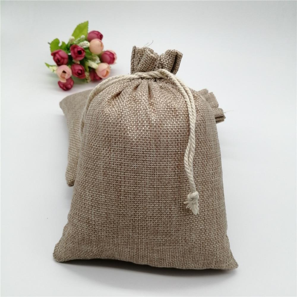 50pcs 15x20cm de Estopa de Juta Saco Do Presente Com Cordão Sacos de Presente Com Alças Saco de Embalagem de Presente de Linho Juta sacos Para Saco de Doces de Casamento