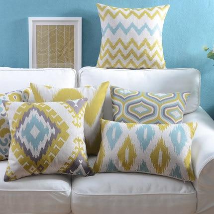 Linu spilvenu pārvalks Dzeltens Zils Ikat Ģeometriskā spilvena - Mājas tekstils - Foto 1
