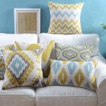 Funda de almohada de lino Vintage amarillo azul geométrico ikat funda de cojín Estilo nórdico hogar decorativo funda de almohada 45x4 5 cm/30x50cm