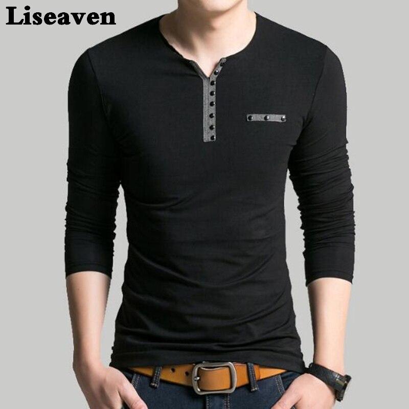 Liseaven Men V Neck Full Sleeve   T  -  Shirt   Slim Fit tshirt Brand New Tops & Tees Cotton   T     Shirts