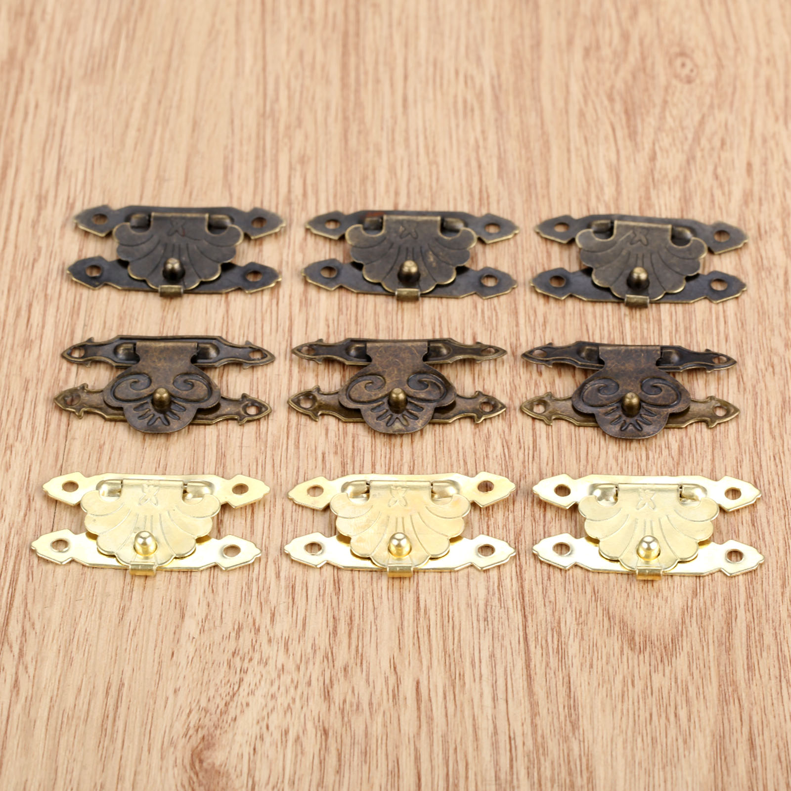 10Pcs Mini Antique Brass Hasps Wooden Case Jewelry Gift Box Decorative Hasp Latch Wood Finuture Hook Lock With 40Pcs Screw