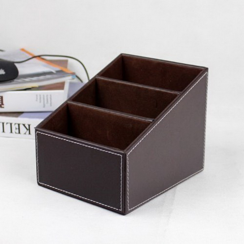 1pc Useful High Quality PU Leather Desktop Remote Control/Controller TV Guide/CD Holder Home Storage Box