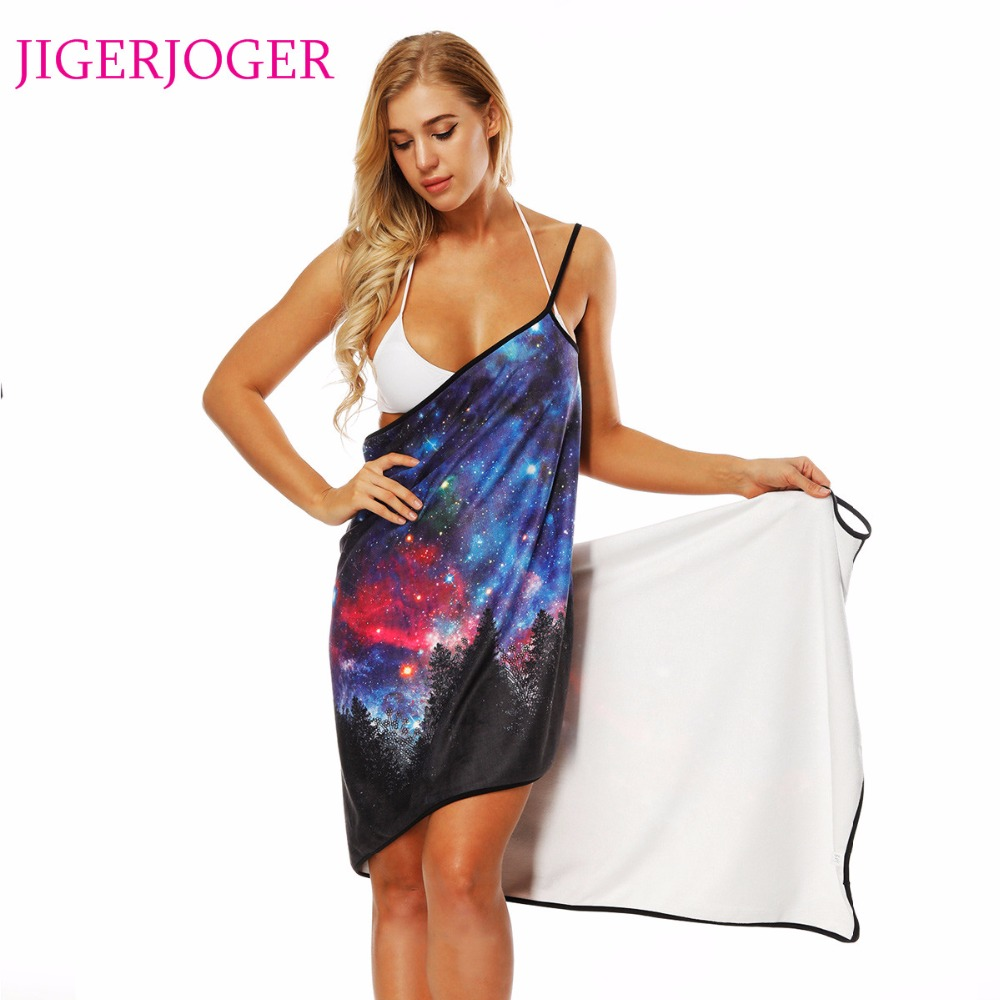 JIGERJOGER Summer Thick Towel 3D Printed Purple blue galaxy Beach Apron halter Swim Dress Shawl Strapped cover up Wrap scarf