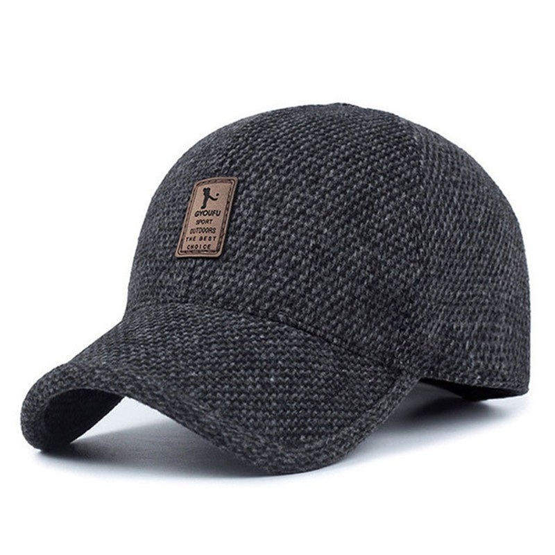Woolen Knitted Design Winter Baseball Cap Men Thicken Warm Hats with Earflaps