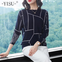 YISU Fashion Women Geometry Print Sweater Long Sleeve Jumpers Knitwear Autumn winter Pullovers high quality Knitted sweaters