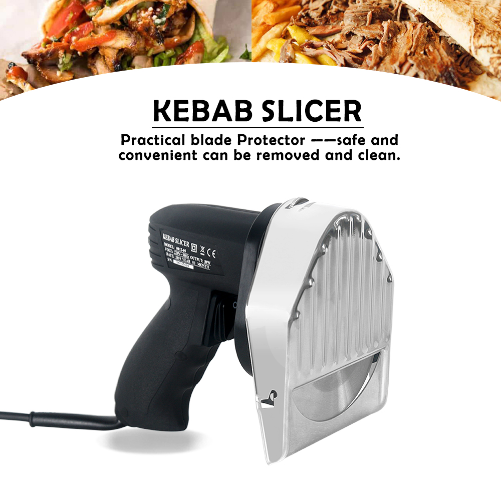 GZZT Doner Kebab Slicer With Two Blades Electrical Kebab Knife Shawarma Gyros Cutter Kebab Grill Knife Mural Kebab Food Grater