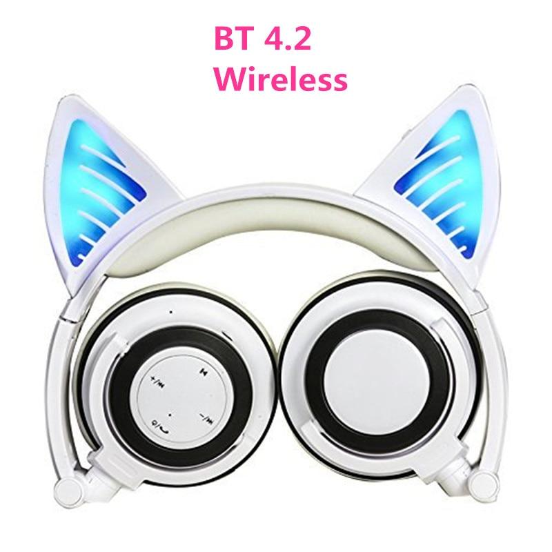 Sans fil Bluetooth Chat Oreille Casque Pliable Glowing LED lumière Cosplay Gaming Casque Halloween Cadeau pour Filles Enfants Téléphones
