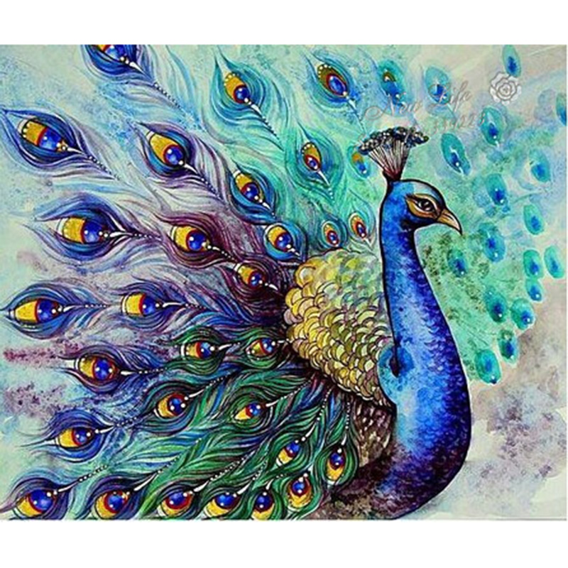 Diy diamond embroidery set full square drill diamond painting 5d picture of stones wall decor peacock animals XU