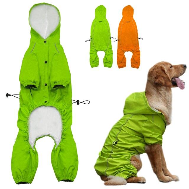 Pet Dog płaszcz przeciwdeszczowy z kapturem dla średnich i dużych psów odblaskowe pies wodoodporne kurtka przeciwdeszczowa dla Golden Retriever Labrador S-XL