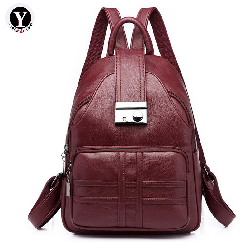 Yirenfang Women Backpack Famous Brand School Bags For Teenagers Girl Pu Leather Designer Backpack Travel Printing 2018 Women Bag