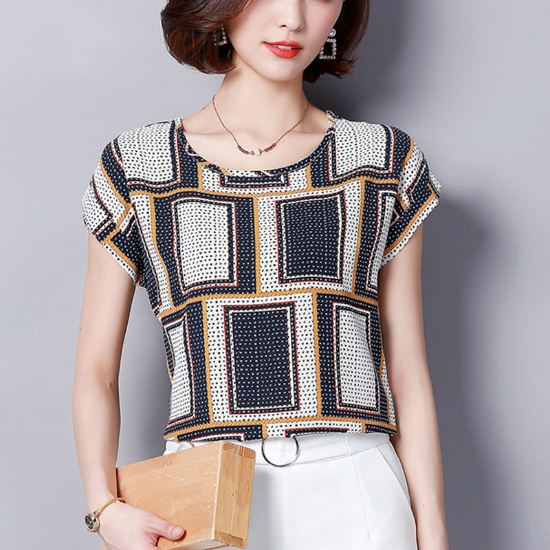 Women   Blouses     Shirts   Chiffon Feminina Top Plus Size 4XL Blusas Femininas 2019 Summer Floral Print Short Sleeve Chiffon   Blouse