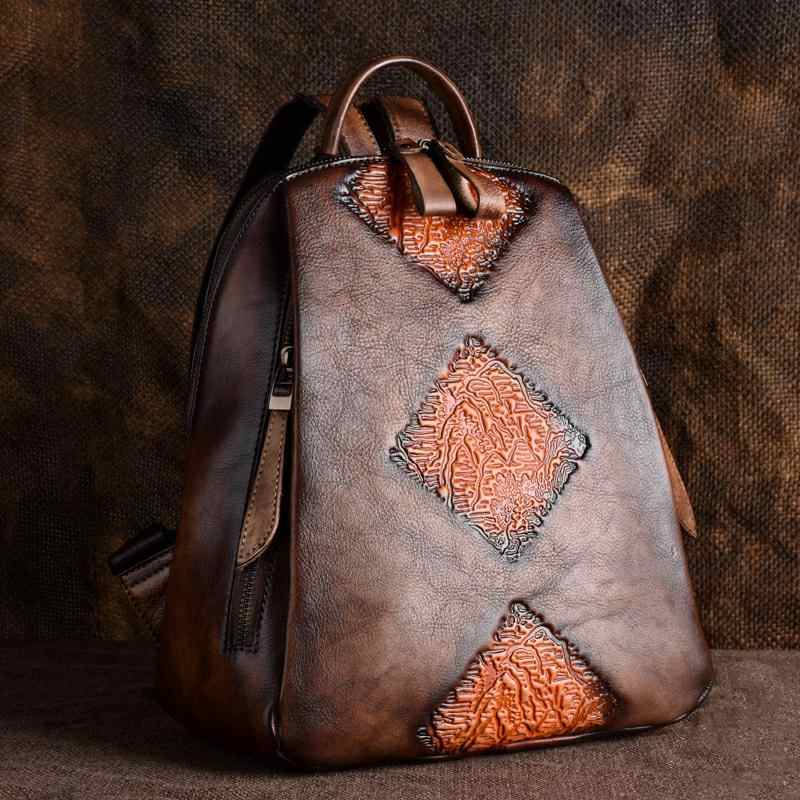 Natural Skin Travel Bag Vintage Rucksack Female Embossed Design Leisure Trends Daypack Knapsack Women Genuine Leather Backpack