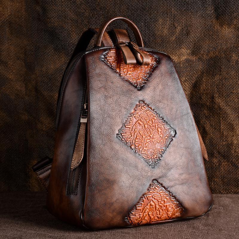 Sac de voyage en peau naturelle sac à dos Vintage femme en relief Design loisirs tendances sac à dos sac à dos femmes en cuir véritable sac à dos