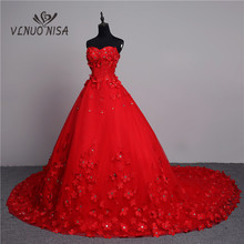 Luxury 3D ดอกไม้ 2020 New Arrivals VINTAGE ลูกไม้ชุดแต่งงานสีแดงยาวรถไฟ PLUS ขนาด Ball Gown Robe de Mariee vestido De Noiva