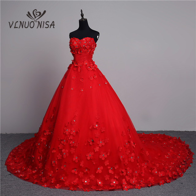 Luxury 3D Flower 2018 New Arrivals Vintage Lace Red Wedding Dress ...