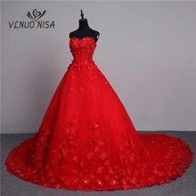 Luxus 3D Blume 2020 Neuheiten Vintage Spitze Rot Hochzeit Kleid Lange Zug Plus Größe Ballkleid Robe de Mariee vestido De Noiva