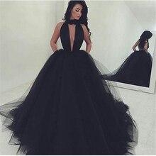 Designer Schwarz Neckholder Ballkleider Prom Kleider Sexy Sleeveless Backless Abschlussfeier Kleider Günstige Tüll Ballkleid Kleid
