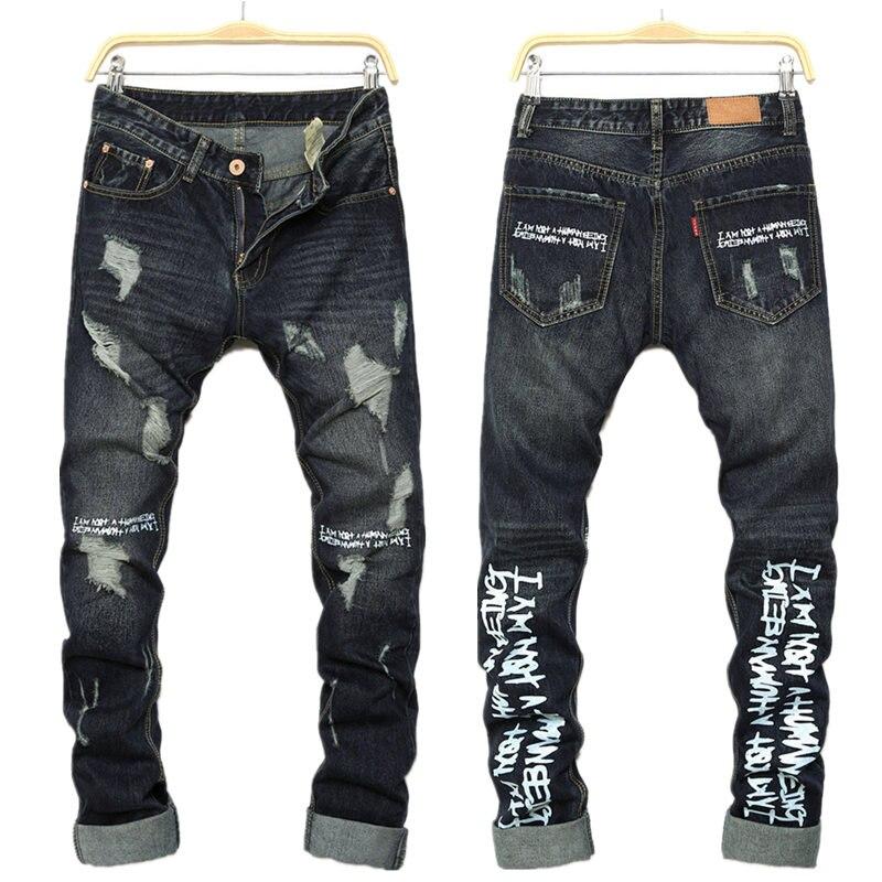 ФОТО Men FOG jeans Slim Fear of god Street Hip Hop Destroyed Denim Biker Justin  Kanye West letter men Simple jogger pants Cooo Coll